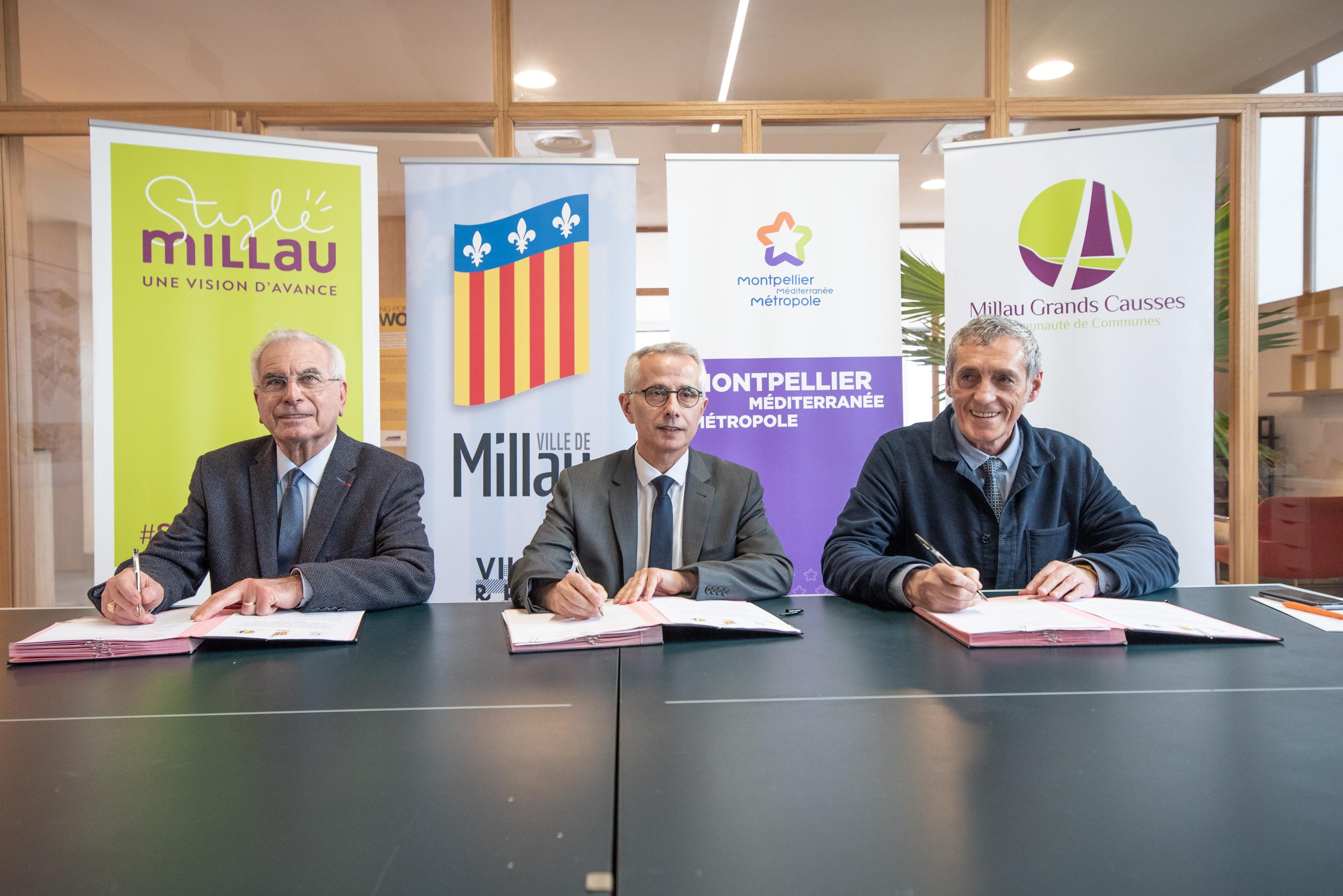 Montpellier Méditerranée Métropole, la ville de Millau et la Communauté de Communes de Millau Grands Causses ont signé leur premier contrat de partenariat.