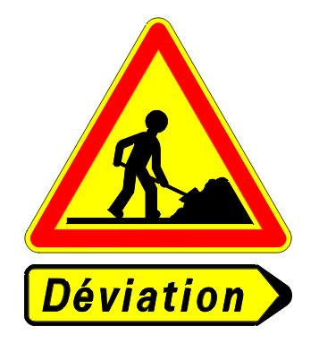 Panneau de chantier avec sous-panneau déviation
